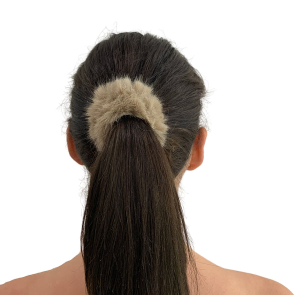 Fluffy Faux Fur Scrunchie - Light Brown
