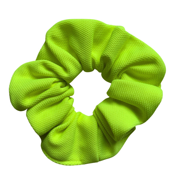 Scrunchies are back and they're here to stay! These stunning scrunchies look great in your hair and also work as gorgeous accessories.  Colour/Pattern: Fluro Yellow/Green  Material: Jersey (medium weight) Washing instructions: Cold hand wash  Dimensions: Material width approximately 4 cm  Made by us in Bondi Beach  With love from Larzy xx