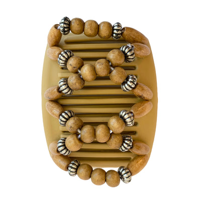 Fine hair comb in light brown with light brown and silver/black metal beads