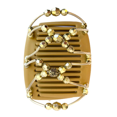 Fine hair comb in light brown with gold beading