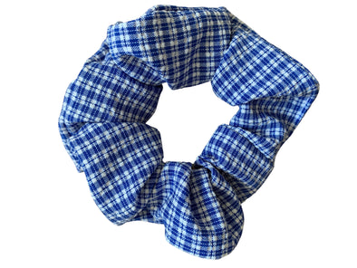 Scrunchies are back and they're here to stay! These stunning scrunchies look great in your hair and also work as gorgeous accessories.  Colour/Pattern: Blue and white checked  Material: Polyester blend  Washing instructions: Cold hand wash  Dimensions: Material width approximately 4 cm  Made by us in Bondi Beach  With love from Larzy xx