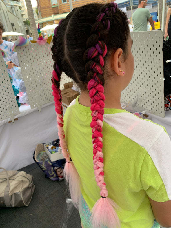 Jumbo Hair Braid (Pale Pink, Hot Pink and Purple)