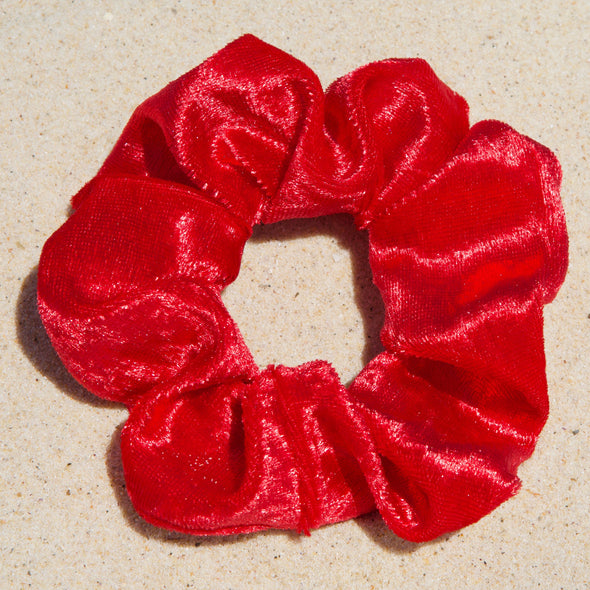 red velveteen scrunchie