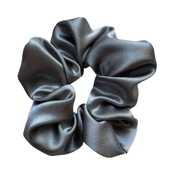 Scrunchies are back and they're here to stay! These stunning scrunchies look great in your hair and also work as gorgeous accessories.  Colour/Pattern: Grey Material: Satin  Washing instructions: Cold hand wash  Dimensions: Material width approximately 5 cm  Made by us in Bondi Beach  With love from Larzy xx