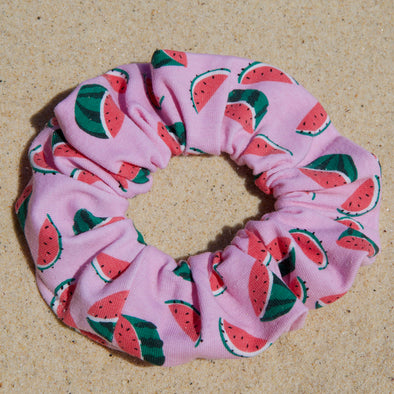 pink scrunchie with watermelon pictures