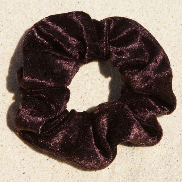 brown velveteen scrunchie