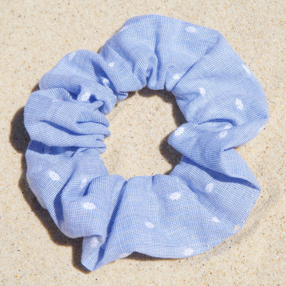 blue scrunchie with white spots