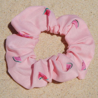 pink scrunchie with watermelon print