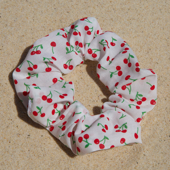 white scrunchie with red cherries