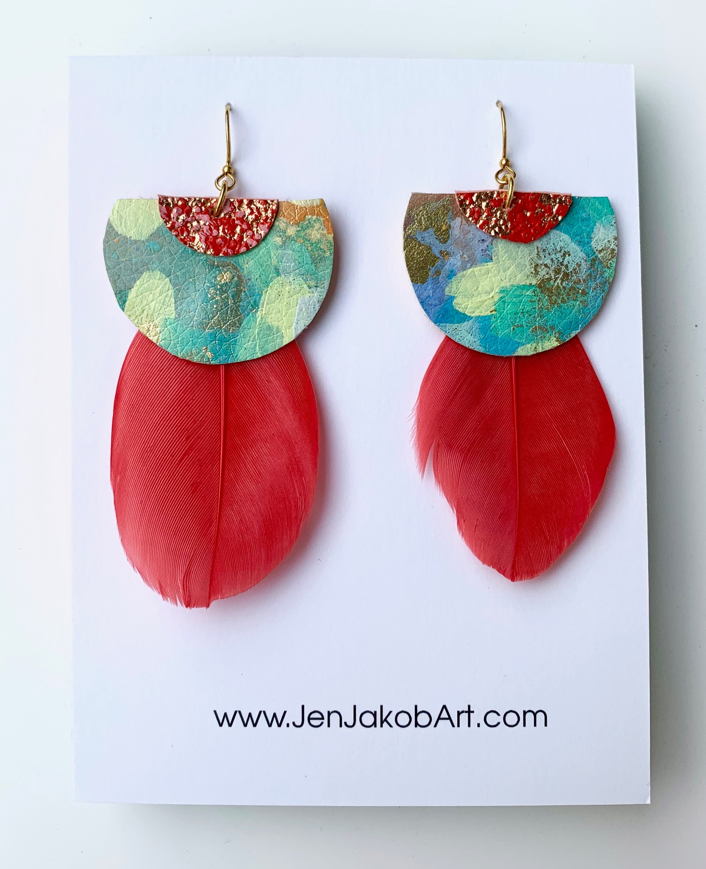 Earrings with Feathers in red, green, yellow, and copper