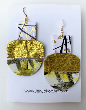 3-Tier Earrings L in gold, olive green, black and white
