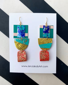 3-Tier Earrings M in blue, teal, red, and gold