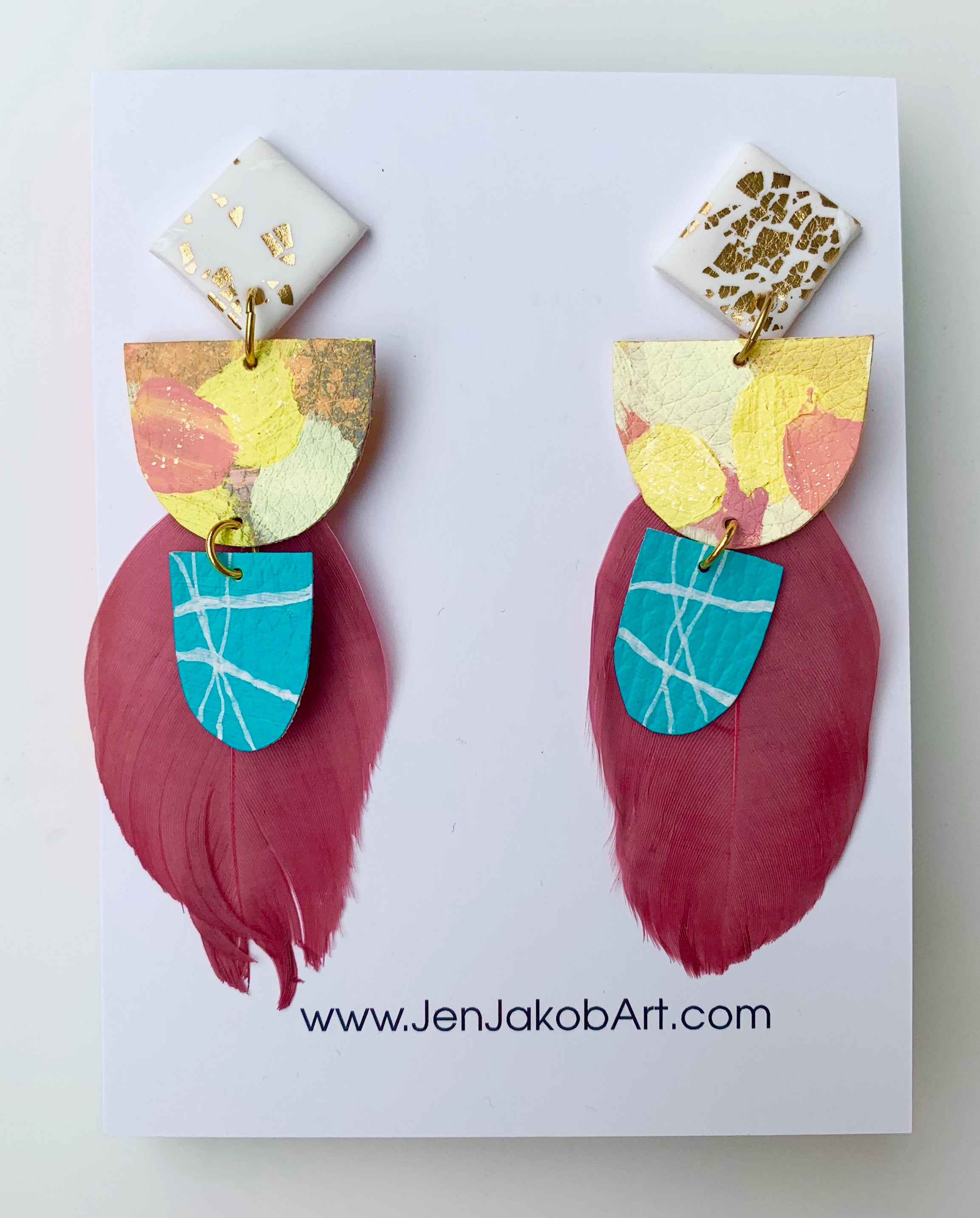 Earrings with Feathers in white, yellow, pink, teal
