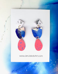 3-Tier Earrings S in blue, pink, white and silver