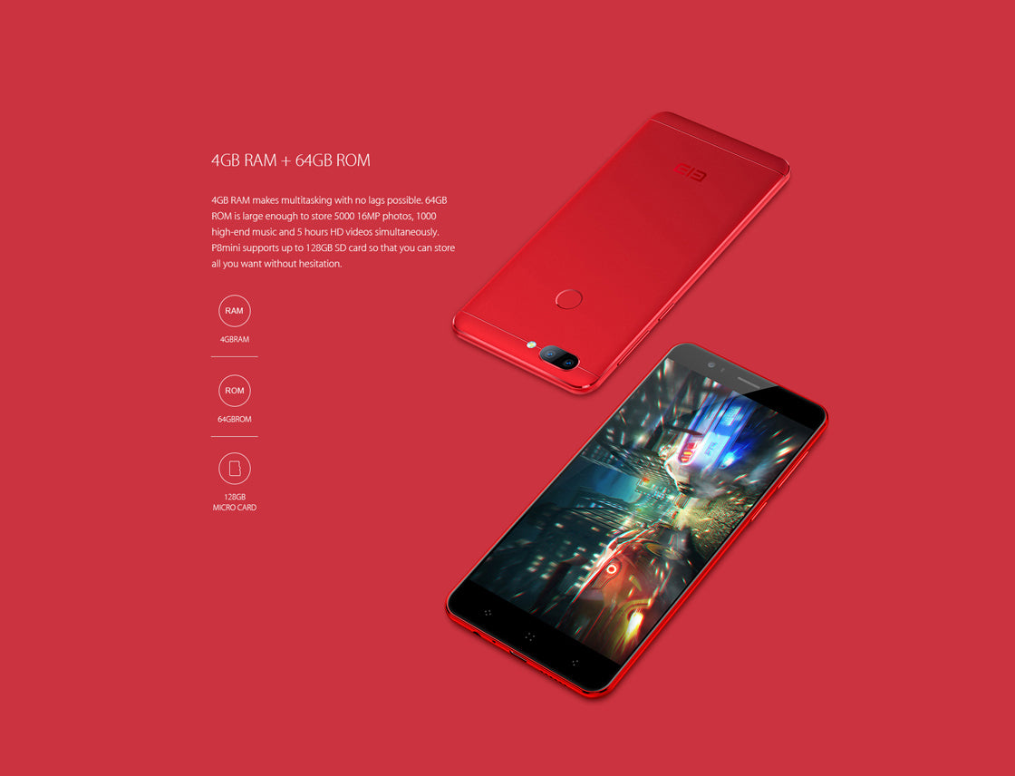 Elephone P8 Mini 13 MP Dual Back Camera Android 7 0 Mobile Phone Red 64GB