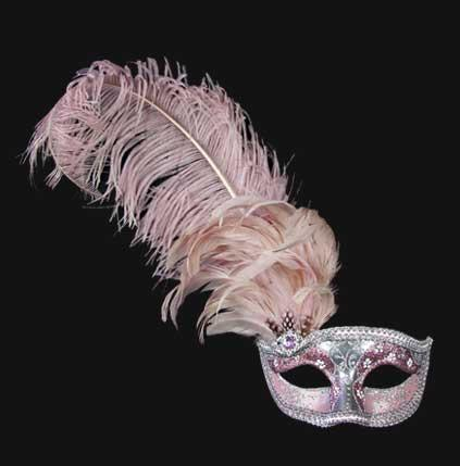 Colombina Can Can Silver Pink Masquerade Mask