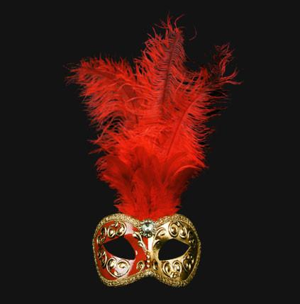 Colombina Piume Mezza Red Masquerade Mask