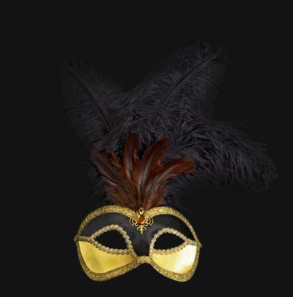 Colombina Piume Velluto Black/Orange Masquerade Mask