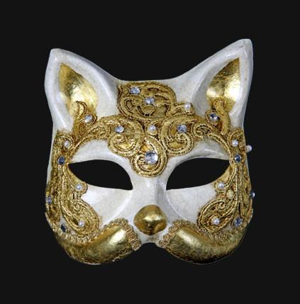 Gatto Macrame Craquele Gold Cat Masquerade Mask