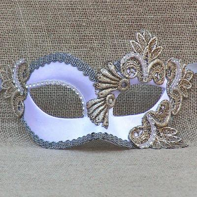 Colombina Regal White Satin 3 Masquerade Mask