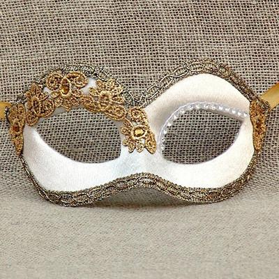 Colombina Deco White Satin Masquerade Mask