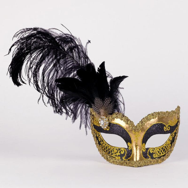 Colombina Can Can Gold Black Masquerade Mask