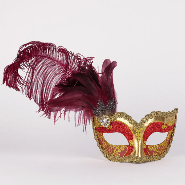 Colombina Can Can Gold Bordeaux Masquerade Mask