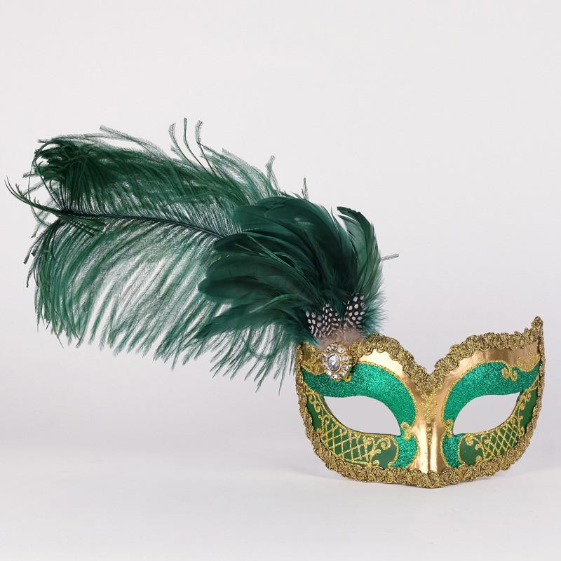 Colombina Can Can Gold Green Masquerade Mask