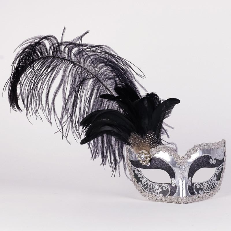 Colombina Can Can Silver Black Masquerade Mask