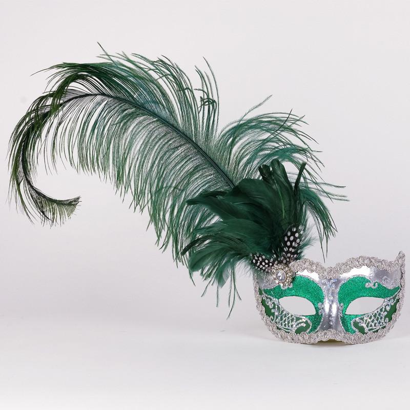 Colombina Can Can Silver Green Masquerade Mask