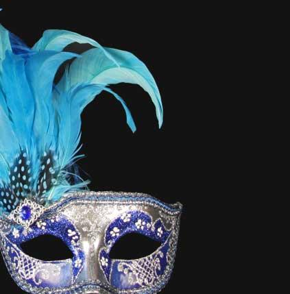 Colombina Can Can Silver Blue Masquerade Mask