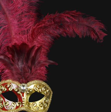 Colombina Piume Mezza Bordeaux/Red Masquerade Mask