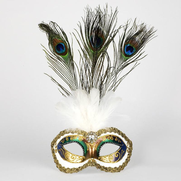 Colombina Festa Strass Fantasia Peacock Feather Masquerade Mask