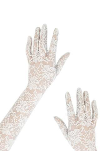 Women's Long White Lace Gloves