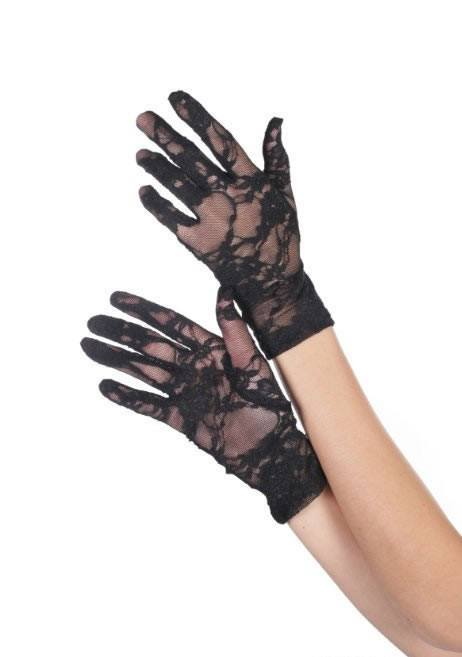 Women's Short Black Lace Gloves Masquerade Mask