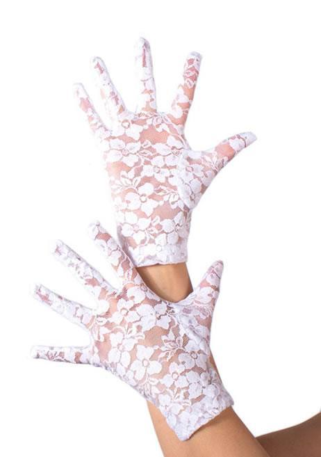 Women's Short White Lace Gloves Masquerade Mask