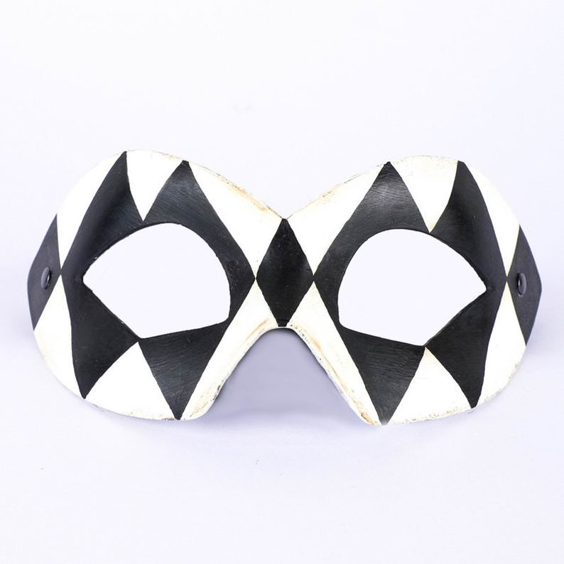 Hero Harlequin Black & White Masquerade Mask