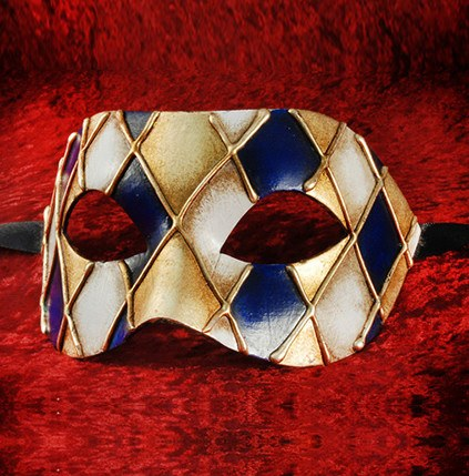 Blue/Gold Colombina Rombi Masquerade Mask