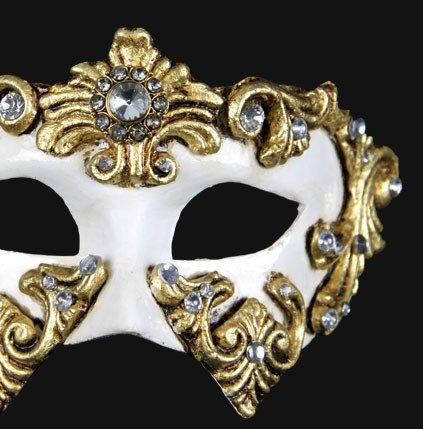 Colombina Barocco Gold White Masquerade Mask