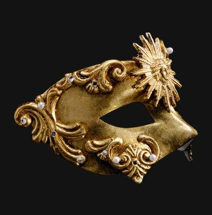 Colombina Barocco Sole Gold Masquerade Mask