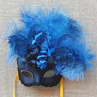 Colombina Blue Rose Cloud Masquerade Mask