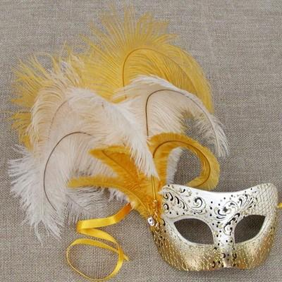 Colombina Cloud Canary Yellow Masquerade Mask