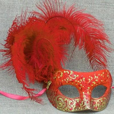 Colombina Cloud Fire Red Masquerade Mask