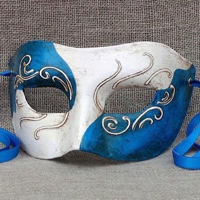 Colombina Contrast 1 Electric Blue Masquerade Mask