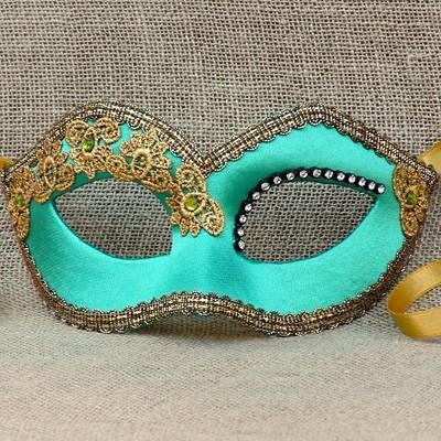 Colombina Deco Turquoise Green Satin Masquerade Mask