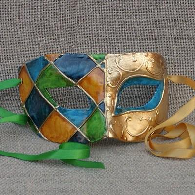 Colombina Harlequin Green/Blue Duo 3 Masquerade Mask
