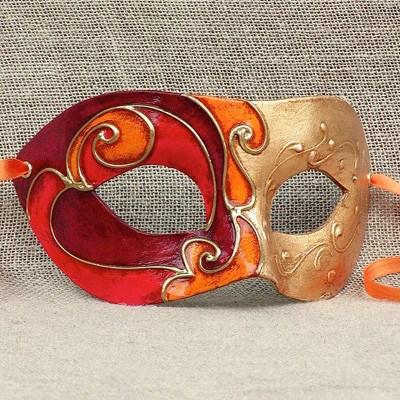 Colombina Harlequin Orange/Red Duo 15 Masquerade Mask