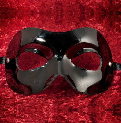 Colombina Leather Fran Black Masquerade Mask