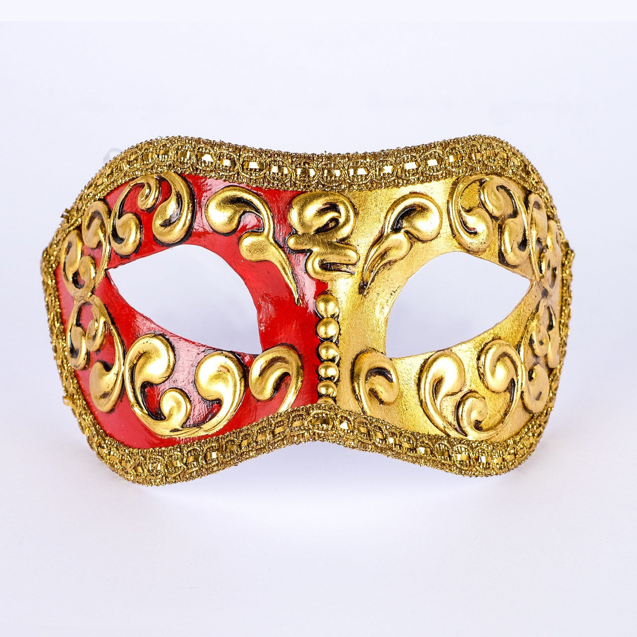 Colombina Mezza Red Masquerade Mask