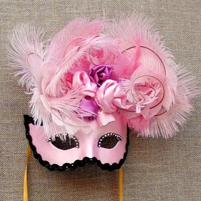 Colombina Pink Rose Cloud Masquerade Mask